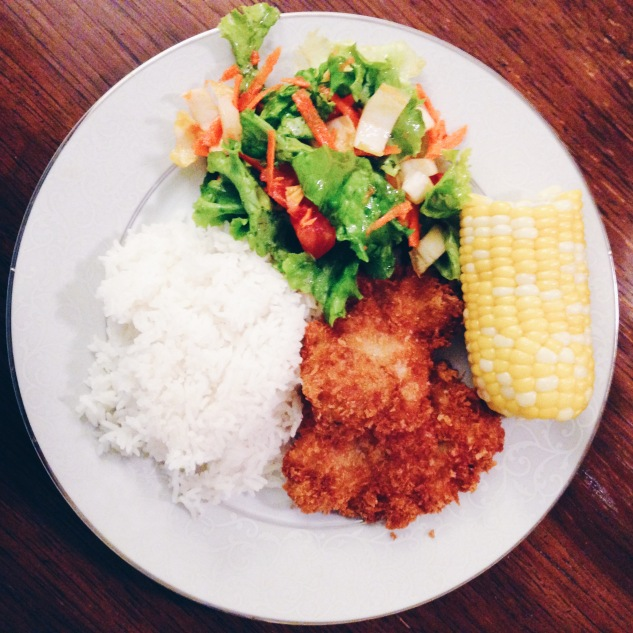Chicken thigh katsu w/ jasmine rice, a salad, and sweet steamed corn