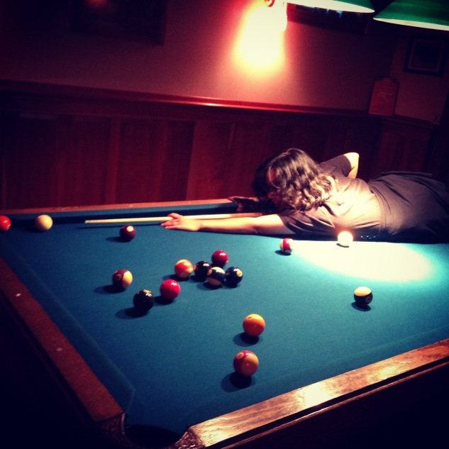 Failing at pool (both feet were considerably off the floor)