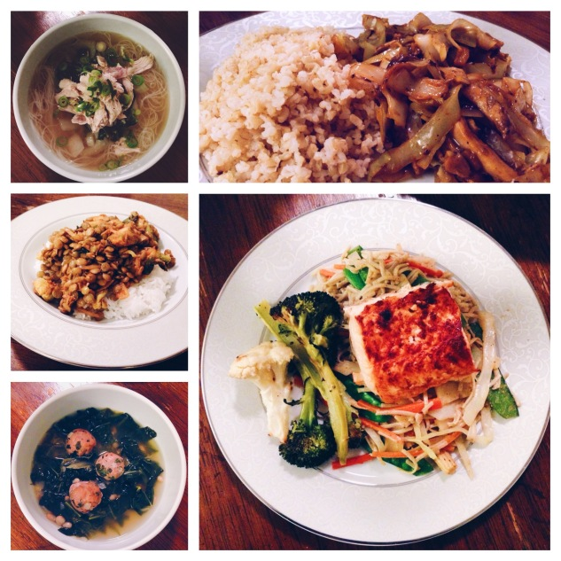 Meals (clockwise starting on the top left): ginger/scallion chicken soup with rice noodles, shredded chicken and garlic sautéed bok choy; mushu chicken with brown rice; brown rice noodles stir-fried with vegetables in almond butter/soy sauce with broiled salmon and roasted broccoli and cauliflower; turkey meatball soup with escarole and kale; green lentils with roasted brussel sprouts with jasmine rice